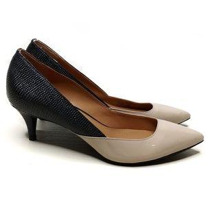Calvin Klein Patna pointed toe tan black heels 6